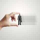 Businessman hand choosing people icon Stock Photo