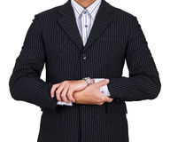 Businessman hand crossed isolated Stock Photo