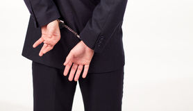 Businessman in hand cuffs. Businessman tied up in hand cuffs Royalty Free Stock Images