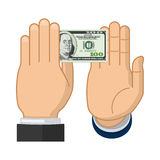Businessman hand declines the offered bribe Royalty Free Stock Photos