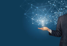 Businessman hand demonstrating digital connection lines. vector illustration