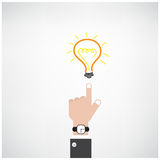 Businessman hand with doodle light bulb sign Stock Photo