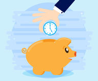 Businessman hand down clock in pig piggybank. Business concept. Time more than money. Time is an investment. Flat style. Cartoon Royalty Free Stock Image