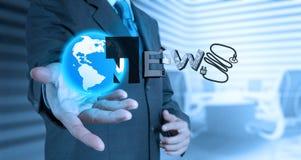 Businessman hand draw  BUSINESS NEWS Stock Photos