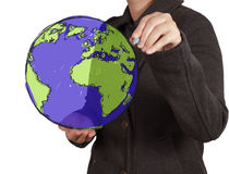 Businessman hand drawing abstract globe Stock Photo
