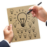 Businessman hand drawing a big idea team Royalty Free Stock Photo