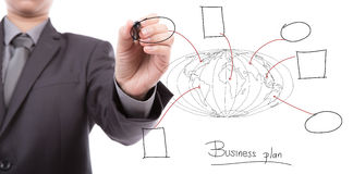 Businessman hand drawing business concept Stock Photos