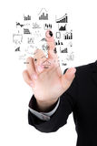 Businessman hand drawing business concept isolated Stock Images