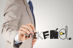 Businessman hand drawing design graphic word WEEKEND. As concept Stock Images