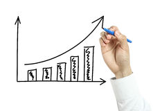 Businessman hand drawing growth graph Royalty Free Stock Images