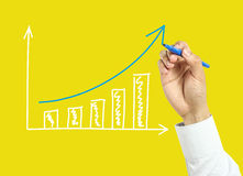 Businessman hand drawing growth graph Royalty Free Stock Image