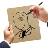 Businessman hand drawing and idea Stock Photos