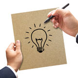 Businessman hand drawing and idea Royalty Free Stock Photo