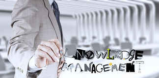 Businessman hand drawing  KNOWLEDGE MANAGEMENT Stock Photography