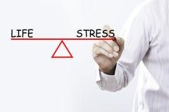 Businessman hand drawing Life and Stress balance. stock photos