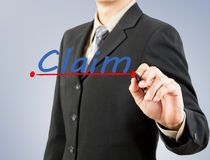 Businessman hand drawing line claim insurance Royalty Free Stock Photo