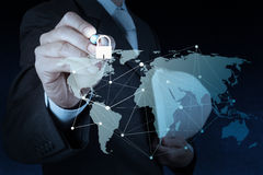 Businessman hand drawing  padlock Stock Image