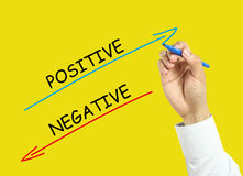 Businessman hand drawing positive and negative concept. Businessman is drawing positive and negative concept with marker on transparent board with yellow Stock Photo