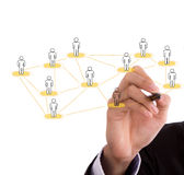 Businessman hand drawing a social network scheme Stock Photo