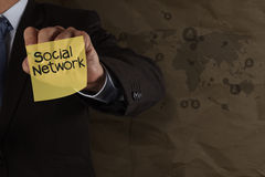 Businessman hand drawing sticky note social network Stock Photography