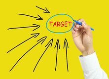 Businessman hand drawing target concept Stock Photo