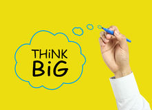 Businessman hand drawing think big concept Royalty Free Stock Images