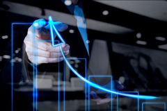 Businessman hand drawing virtual chart business Stock Photography