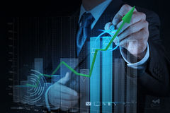 Businessman hand drawing virtual chart business Stock Images