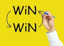 Businessman hand drawing win-win concept. Businessman is drawing win-win concept with marker on transparent board with yellow background Stock Images