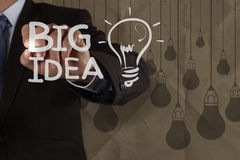 Businessman hand draws big idea light bulb Royalty Free Stock Photography