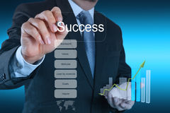 Businessman hand draws business success chart conc. Businessman hand draws business success chart as concept stock images