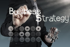 Businessman hand draws business success chart Royalty Free Stock Photos