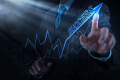 Businessman hand draws business success chart Royalty Free Stock Photography