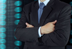 Businessman hand draws business success Stock Image