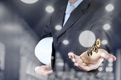 Businessman hand draws gear to success concept Royalty Free Stock Photo