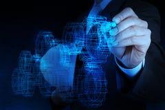 Businessman hand draws gear to success Stock Image