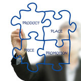 Businessman hand draws puzzle diagram. On white board stock images