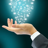 Businessman hand with email. Email over the businessman hand Stock Photography