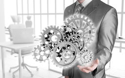 Businessman hand gear Royalty Free Stock Photography