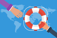 Businessman hand getting lifebuoy from another businessman on world map background. Business concept  help, support, survival. Vector colorful illustration in Stock Image