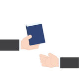 Businessman hand giving book idea guide from hand to hand on white background, vector illustration Stock Images