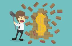 Businessman hand held hammer breaking wall treasure discover ico. N dollar.Cartoon of business success is the concept of the man characters business,background Royalty Free Stock Photos