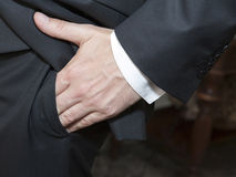 Businessman hand in his pocket Royalty Free Stock Photography