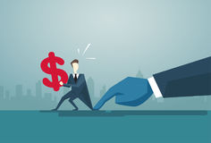 Businessman Hand Hold Dollar Sign Problem, Business Man Finance Crisis Concept. Flat Vector Illustration Stock Image
