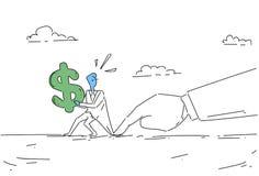 Businessman Hand Hold Dollar Sign Problem, Business Man Finance Crisis Concept. Vector Illustration Stock Image