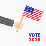 Businessman hand holding american flag. President election day 2016. Voting concept. Isolated White background Flat design Card. Vector illustration Royalty Free Stock Photo