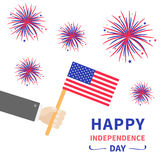 Businessman hand holding american flag. Star and strip. Firework set. Happy Independence day 4th of july Flat design. White backgr. Ound. Vector illustration Royalty Free Stock Image