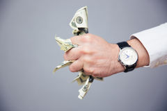 Businessman hand holding bills of US dollar in fist Royalty Free Stock Photos