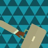 Businessman Hand Holding Colorful Briefcase and Arm Swayed Farther Back is In A Hurry. Creative Background Idea for New. Rushing Businessman Arm Swayed Farther stock illustration