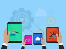 Businessman hand holding digital tablet Stock Image